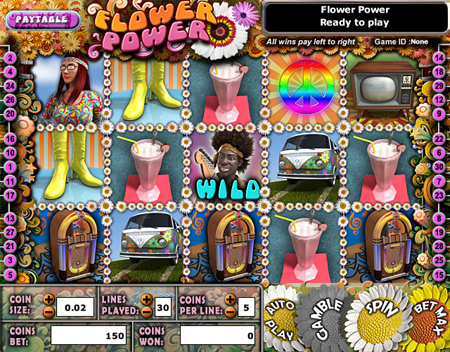 jet bingo flower power 5 reel online slots game