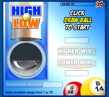 jet bingo high low online instant win game