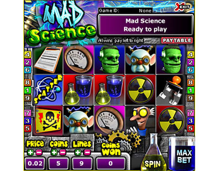 jet bingo mad science 5 reel online slots game