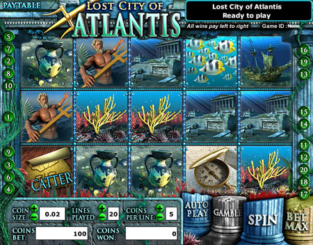 jet bingo lost city of atlantis 5 reel online slots game