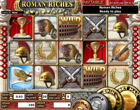 jet bingo roman riches 5 reel online slots game